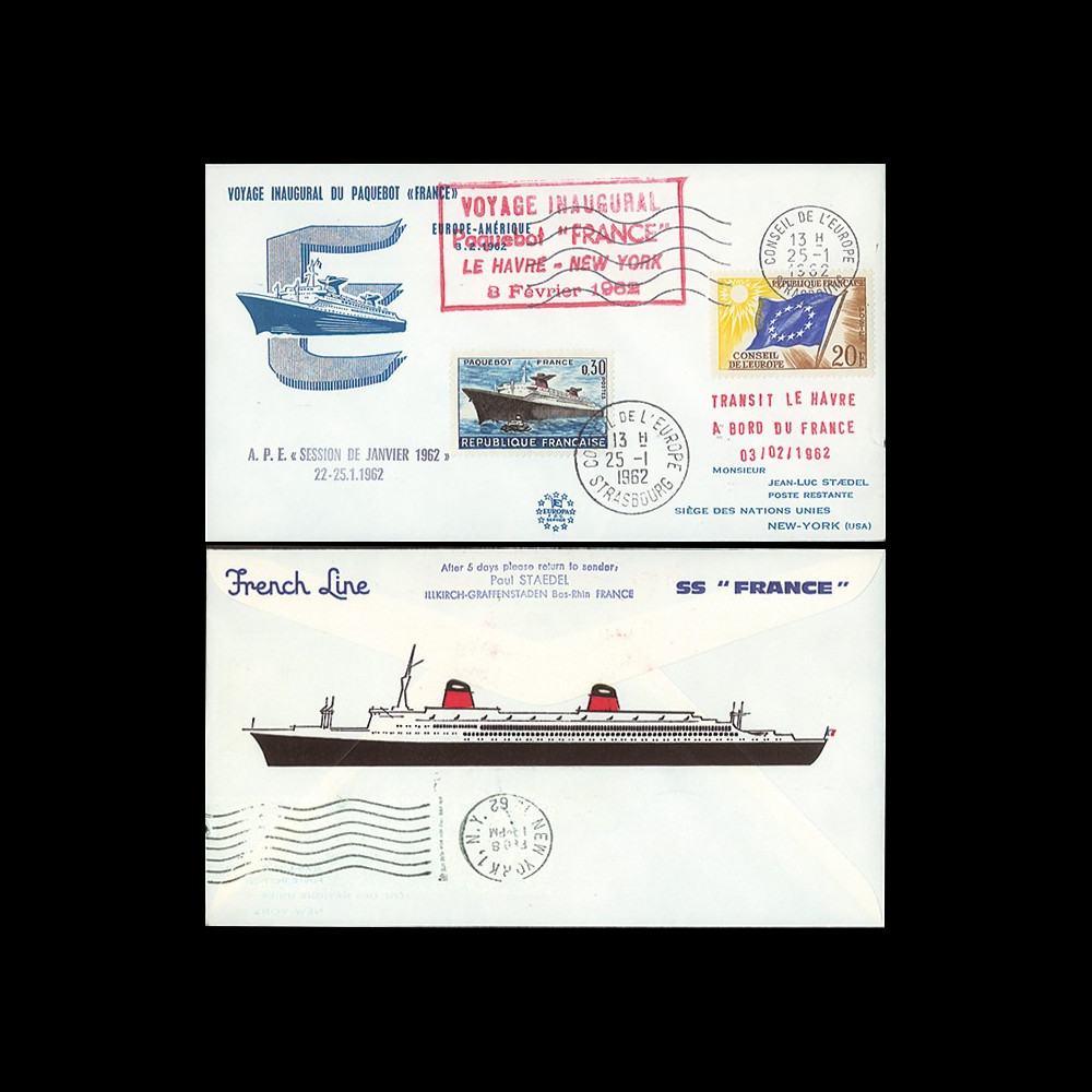 "FRANCE-62 : 1962 - FDC ""Voyage inaugural Le Havre - NY"" du paquebot France"