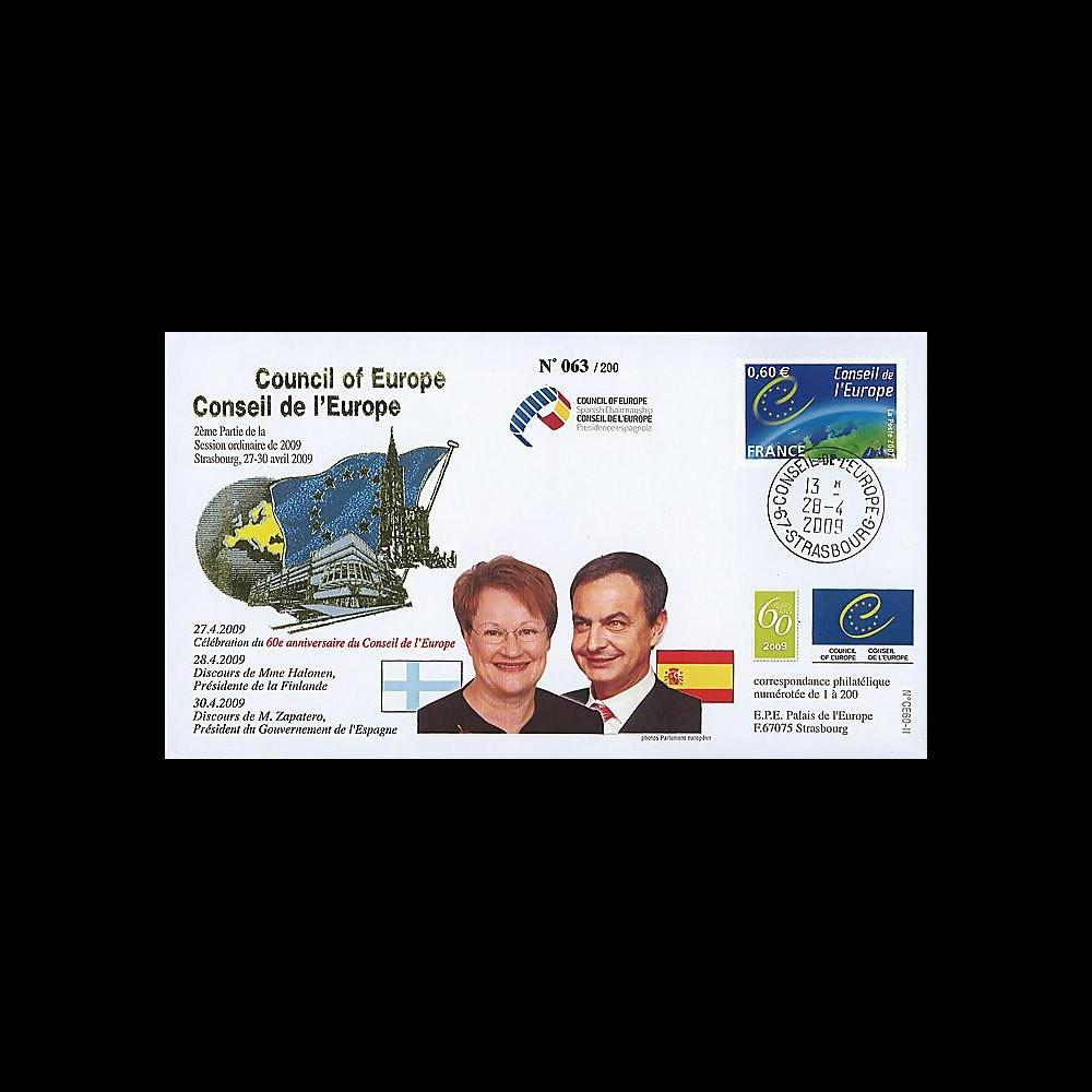 CE60-II : 2009 - FDC '60 ans CE - Mme Halonen (Finlande) & M. Zapatero (Esp.)'