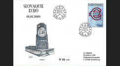 PE571 : 2009 - FDC 1er Jour 'Introduction de l'Euro' - Slovaquie