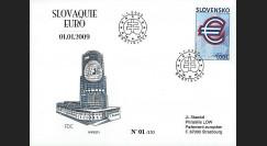 PE571 : 2009 - FDC 1er Jour 'Introduction de l'Euro' - Slovaquie