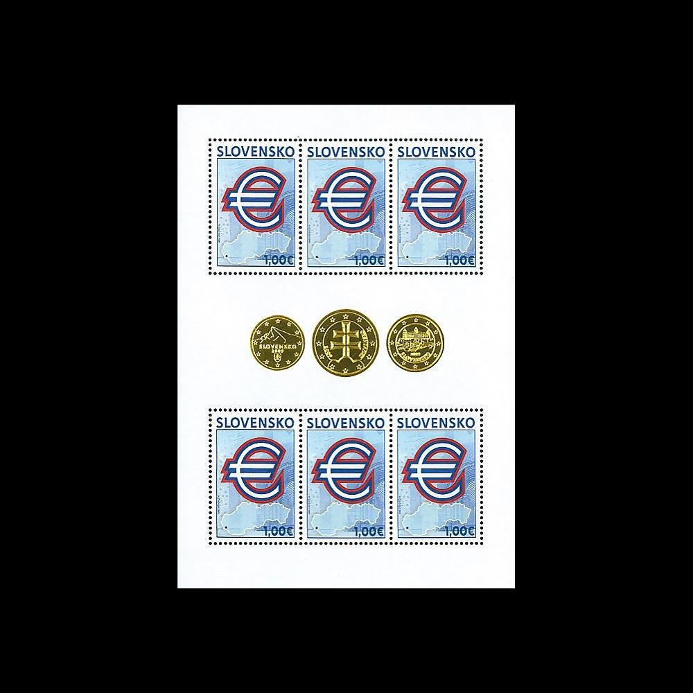 PE571F : 2009 - Feuillet Slovaquie 'Introduction de l'Euro'
