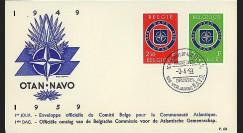 OTAN9 : 1959 - FDC 1er Jour Belgique '10 ans OTAN 1949-1959'
