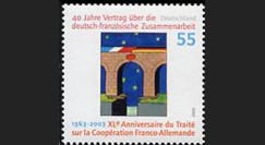 PE460D : 1963-2003 Timbre allemand - 40 ans Traité de l'Elysée