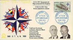OTAN14-2 : 1959 - FDC 1er Jour France '10 ans OTAN - de Gaulle / Eisenhower'