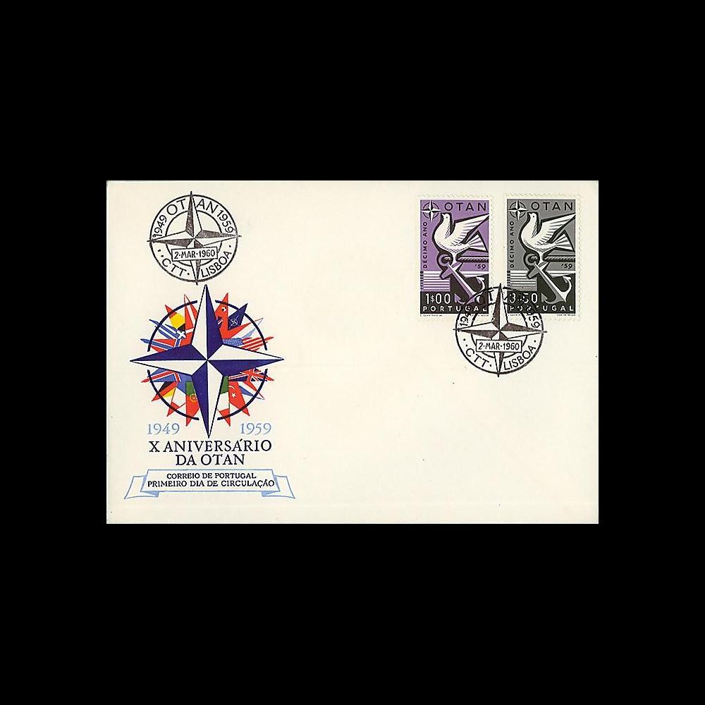 OTAN15 : 1959 - FDC 1er Jour Portugal '10 ans OTAN 1949-1959'
