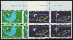 OTAN23B4 : 1969 - Bloc de 4 TP Turquie '20 ans OTAN 1949-1969'