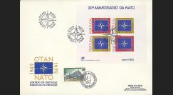 OTAN30B : 1979 - FDC 1er Jour bloc-feuillet Portugal '30 ans OTAN'