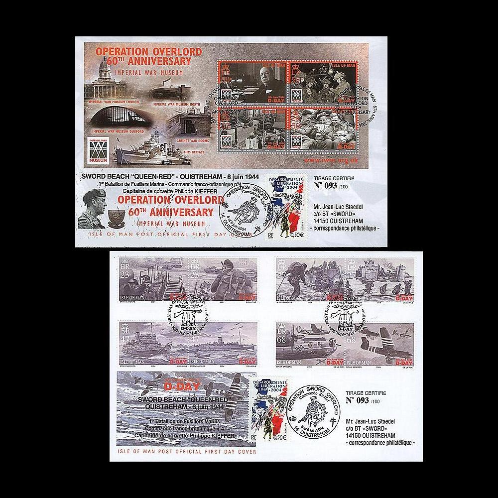 DEB 04-MAN : 2004 - 2 FDC Ile de Man D-Day - Opération Overlord