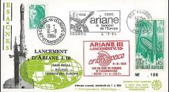 AR 20L T1 : 1984 - FDC Kourou 'Ariane L10 - sat. ECS-2 et Telecom 1A'