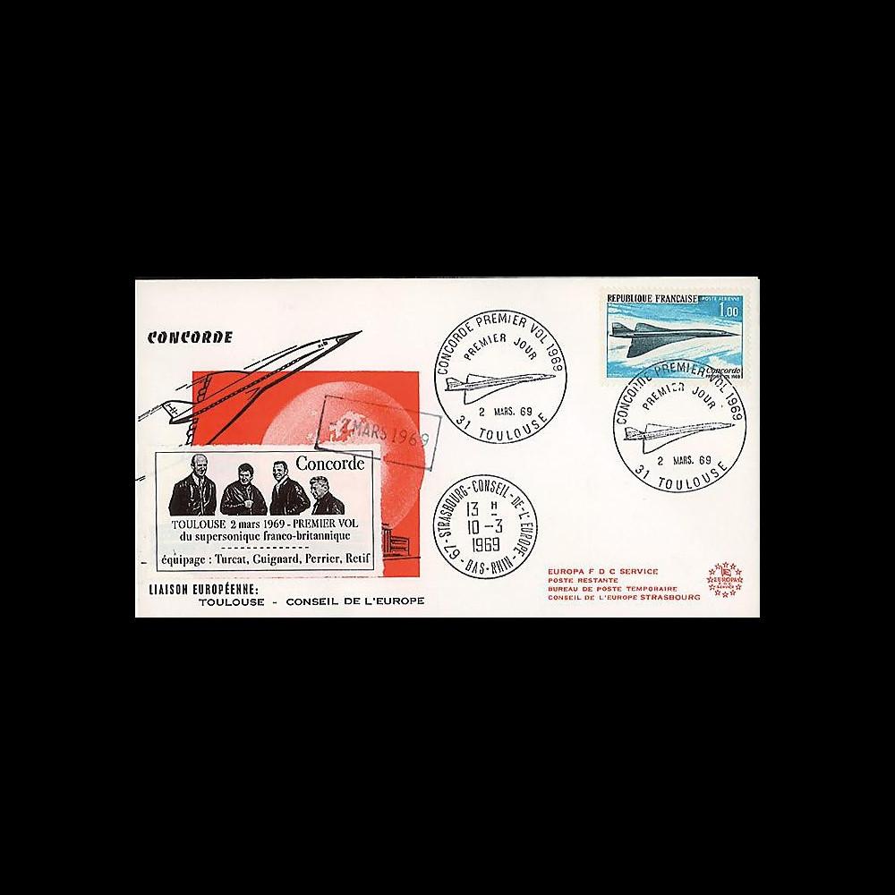 FE18L : 1969 - FDC 1er Jour '1er vol Concorde 001' + liaison CE