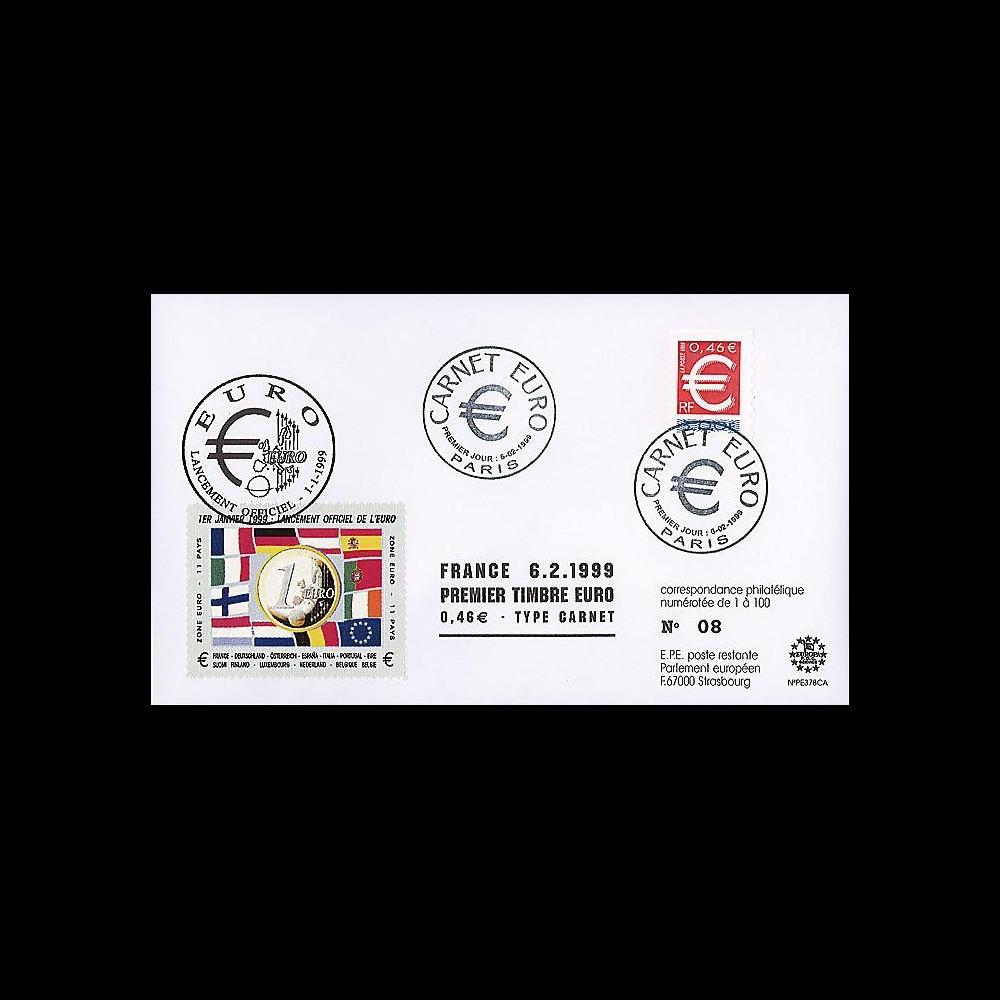 PE378CA : 1999 - FDC France '1er Jour TP EURO adhésif'
