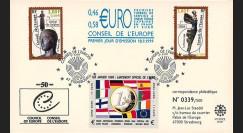 """CE50PJ2 (PE397) : 1999 - FDC Conseil de l'Europe """"1er Jour des 1ers timbres de service en Euro"""""""