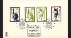 """CE50-PJG (PE397-G) : 1999 - FDC Conseil de l'Europe """"1er Jour 1ers timbres en Euro"""" sur gravure"""