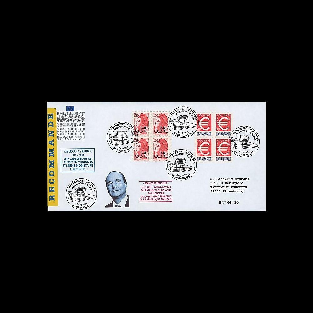 PE403a : 1999 - FDC RECO Parlement eur. 'de l'ECU à l'EURO'