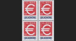 YT3214B4 : 1999 - Bloc de 4 TP France double faciale 'lancement EURO'