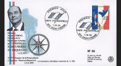 SP99-CH1 : 1999 - FDC 1er Jour SPM 'Visite Chirac & 1er TP à dble faciale'