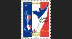 """SP99-CH1N : 1999 - 1 valeur St-Pierre-et-Miquelon """"Visite du Pdt Chirac et 1er TP en Euro"""""""