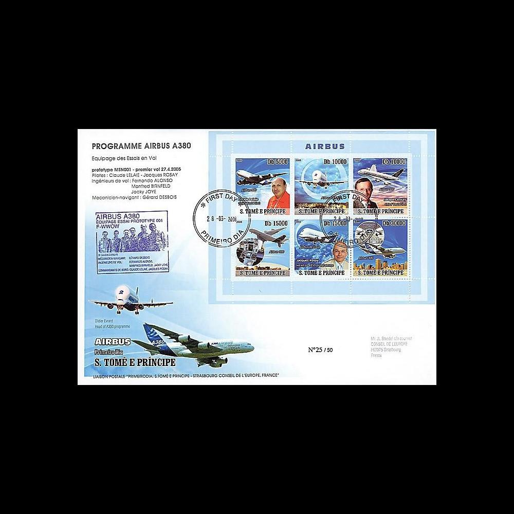 A380-70 : 2008 - Pli St-Tomé et Principe 'Programmes Airbus A380 & A350'