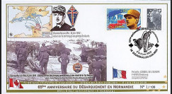DEB09-8 : 2009 - FDC '65 ans D-Day - Juno Beach - retour du gal de Gaulle'