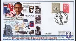 DEB09-9 : 2009 - FDC '65 ans D-Day - Obama' Ste-Mère-Eglise