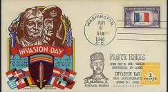 DEB 46-1 T2 : 1946 - FDC patriotique USA '2e anniversaire du D-Day'