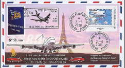 A380-80 : 2009 - FDC 'A380 1er vol commercial Paris-Singapore' Monde 20g