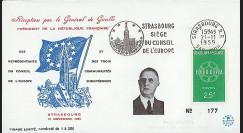 DG59-ST1 : 1959 - FDC 'Visite du Pdt de Gaulle au Conseil de l'Europe'