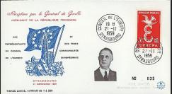 DG59-ST2 : 1959 - FDC 'Visite du Pdt de Gaulle au Conseil de l'Europe'