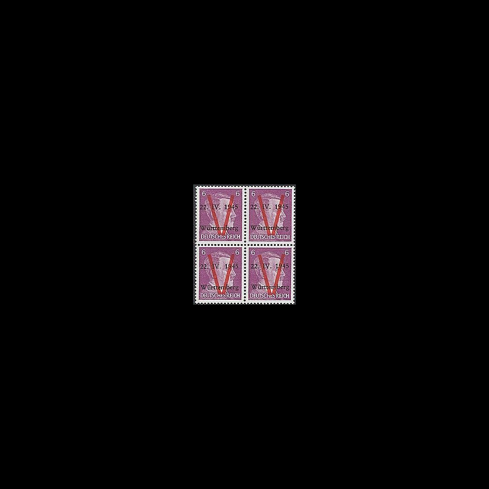 LIB-W6 B4 : 1945 - Bloc de 4 TP 6Pf 'Hitler' surcharges 'V' normales