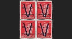LIB-W12 B4 : 1945 - Bloc de 4 TP 12Pf 'Hitler' surcharges 'V' normales