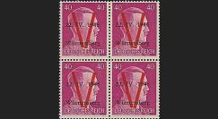 LIB-W40 B4 : 1945 - Bloc de 4 TP 40Pf 'Hitler' surcharges 'V' normales