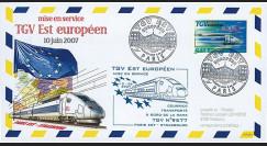 """PE539-1 : 2007 - FDC à bord """"Mise en Service TGV EST Européen Paris Est-Strasbourg"""""""