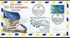 """PE539-2 : 2007 - FDC à bord """"Mise en Service TGV EST Européen Strasbourg-Paris Est"""""""