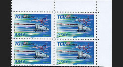 PE539-VB4 : 2007 - Bloc de 4 TP 'TGV Est' normal + variété décalage couleurs