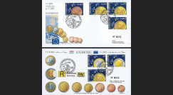 PE445-3 : 2002 - 2 FDC 1er Jour TP 'Introduction de l'Euro' - Luxembourg
