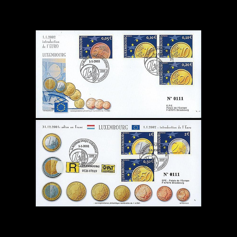 PE445-3 : 2002 - 2 FDC 1er Jour TP 'Introduction de l'Euro' - Luxembourg