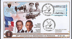 DEB09-3A : 2009 - FDC '65 ans D-Day - Obama & Sarkozy' TPP Gold