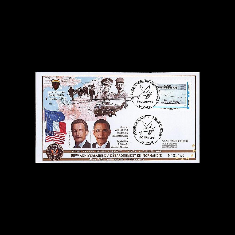 DEB09-3A : 2009 - FDC '65 ans D-Day - Obama & Sarkozy' TPP Gold