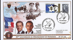 DEB09-3B : 2009 - FDC '65 ans D-Day - Obama et Sarkozy' TP Leclerc