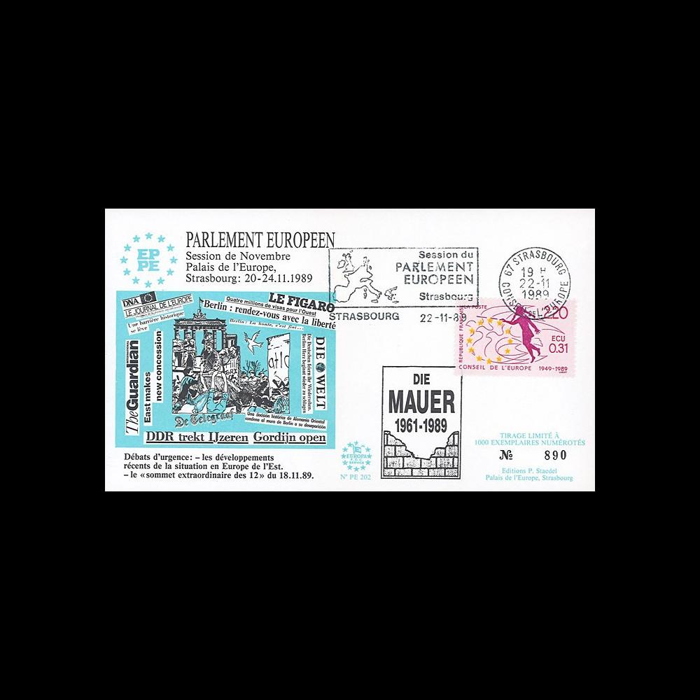 """PE202 : 11-1989 - FDC Parlement européen """"Chute du Mur de Berlin / Die Berliner MAUER"""""""