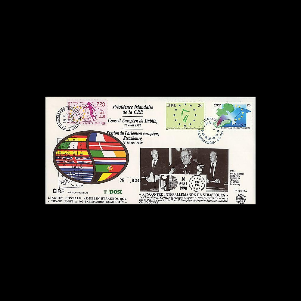 PE212A : 1990 - FDC Irlande 'Rencontre interallemande de Strasbourg'