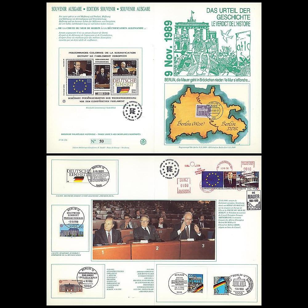 PE223 : 1989-90 - Diptyque 'Chute Mur de Berlin & réunifictaion allde'