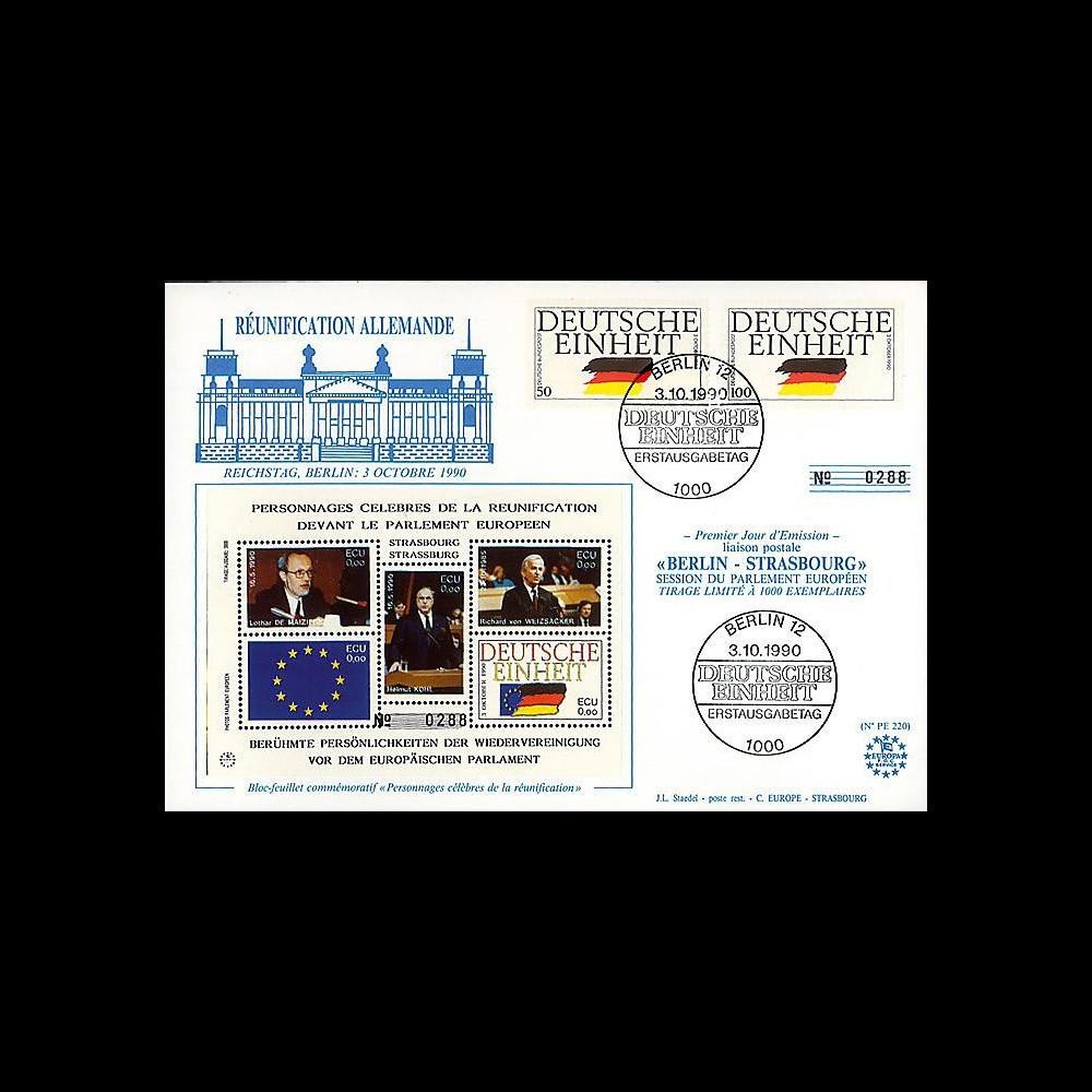 PE220 : 1990 : FDC 1er Jour TP 'Unité allde' - 'Réunification allde'