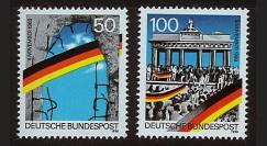PE222N : 1990 - 2 TP Allemagne '1er anniversaire Chute Mur de Berlin'