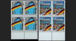 PE222-B4 : 1990 - Bloc de 4 TP Allemagne '1er anniversaire Chute Mur de Berlin'
