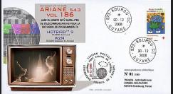 V186L-T1 : 2008 - FDC Kourou Vol 186 Ariane 543 - sat. Hotbird 9 & W2M