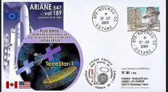 V189L-T1 : 2009 - FDC Kourou Vol 189 Ariane 547 - satcom TerreStar-1
