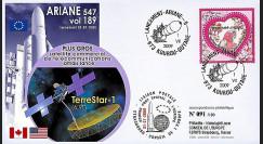 V189L-T2 : 2009 - FDC Kourou Vol 189 Ariane 547 - satcom TerreStar-1
