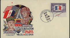 W2-US44PA-T1 : 1944 - Enveloppe patriotique USA 'Patton & de Gaulle'