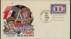 W2-US44PA-T2 : 1944 - Enveloppe patriotique USA 'Patton & de Gaulle'
